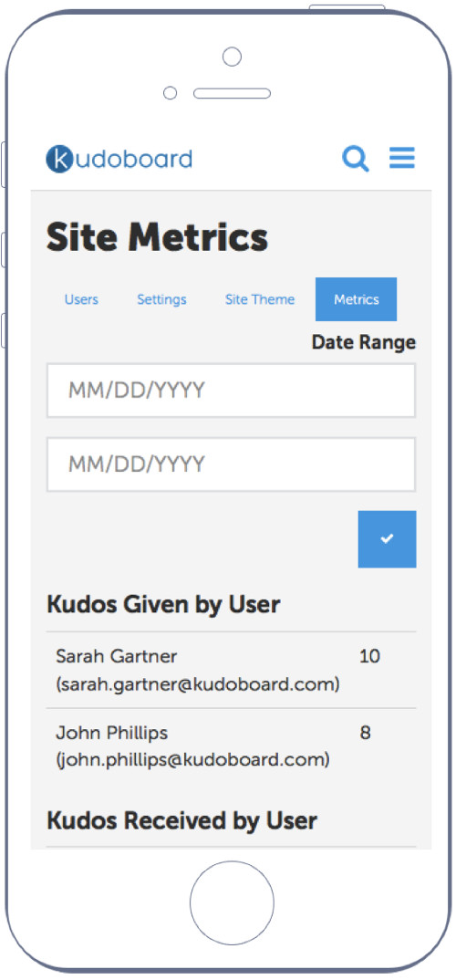 Mobile view of a Kudoboard metrics page